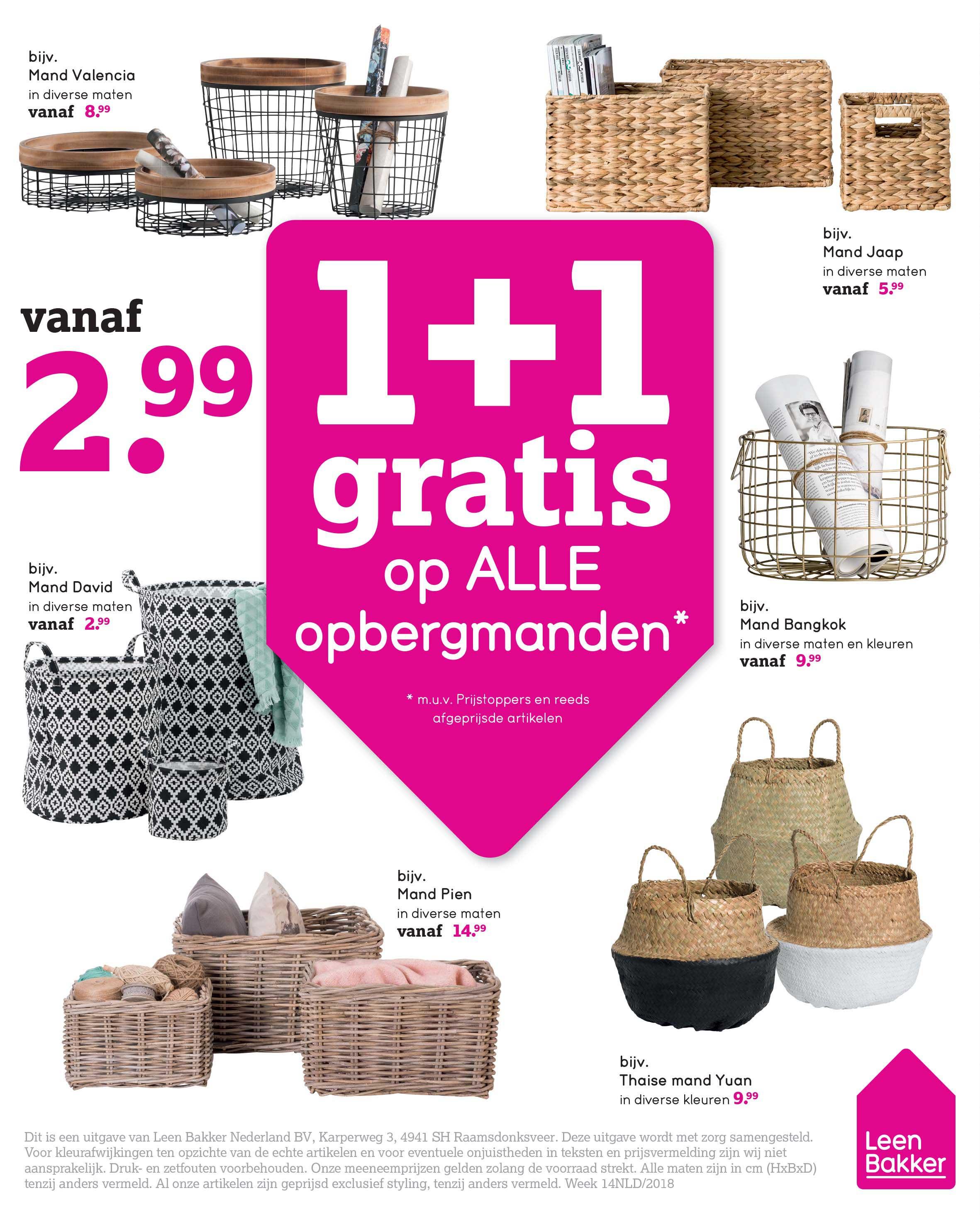 Leen Bakker 1+1 Gratis Op ALLE Opbergmanden