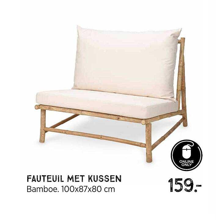 Xenos Fauteuil Met Kussen Bamboe 100x87x80 Cm