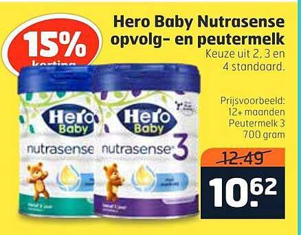 Trekpleister Hero Baby Nutrasense Opvolgmelk En Peutermelk 15% Korting