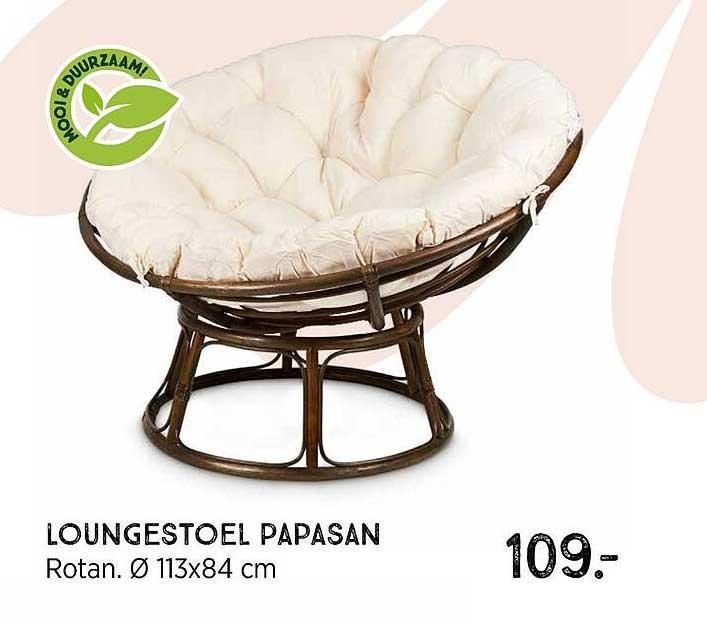 Xenos Loungestoel Papasan Rotan Ø 113x84 Cm
