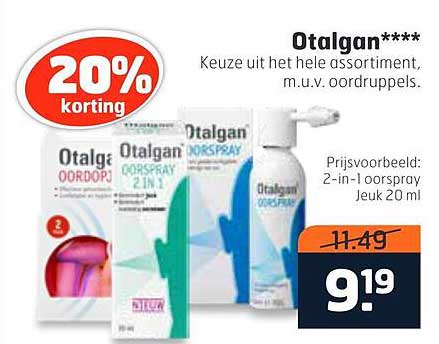 Trekpleister Otalgan 2-in-1 Oorspray Jeuk 20 Ml 20% Korting