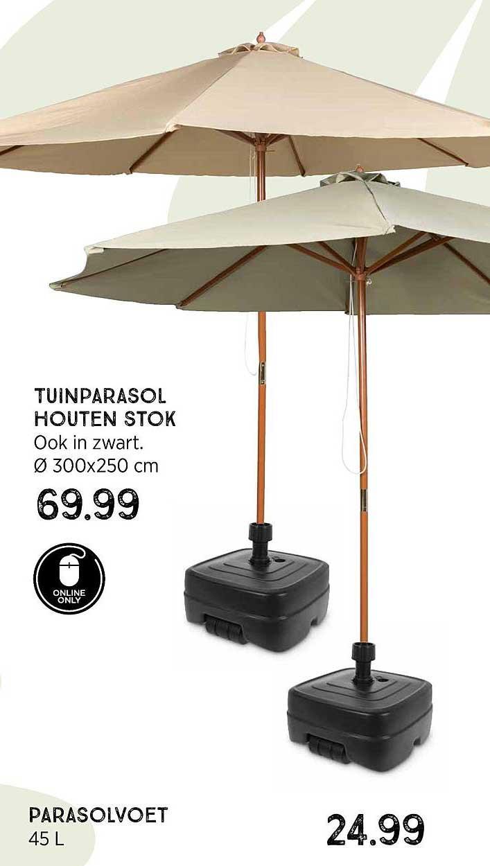 Xenos Tuinparasol Houten Stok Ø 300x250 Cm