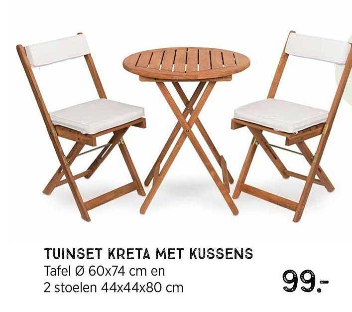 Xenos Tuinset Kreta Met Kussens : Tafel Ø 60x74 Cm En 2 Stoelen 44x44x80 Cm
