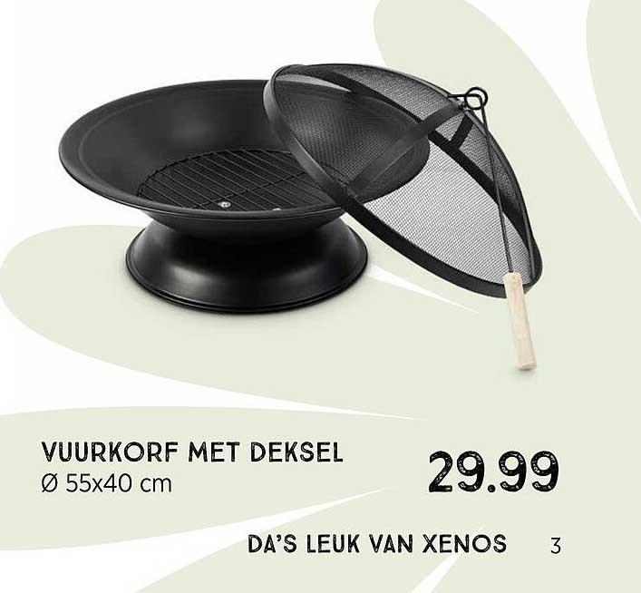 Xenos Vuurkorf Met Deksel Ø 55x40 Cm