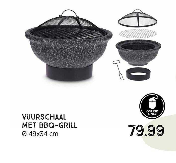 Xenos Vuurschaal Met BBQ-Grill Ø 49x34 Cm