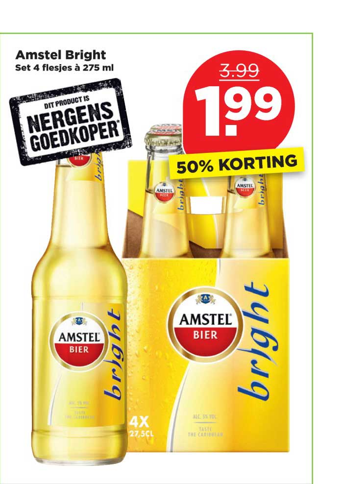 PLUS Amstel Bright: 50% Korting