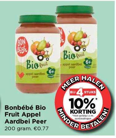 Vomar Bonbébé Bio Fruit Appel Aardbei Peer Bij 4 Stuks 10% Korting