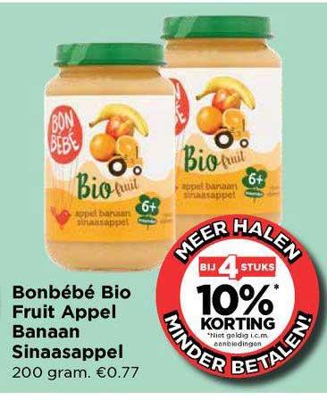Vomar Bonbébé Bio Fruit Appel Banaan Sinaasappel Bij 4 Stuks 10% Korting