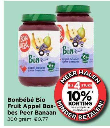 Vomar Bonbébé Bio Fruit Appel Bosbes Peer Banaan Bij 4 Stuks 10% Korting