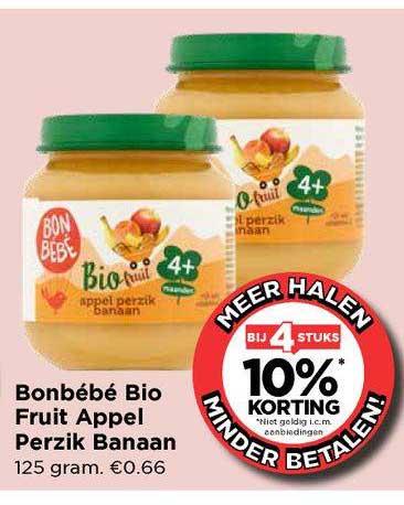 Vomar Bonbébé Bio Fruit Appel Perzik Banaan Bij 4 Stuks 10% Korting