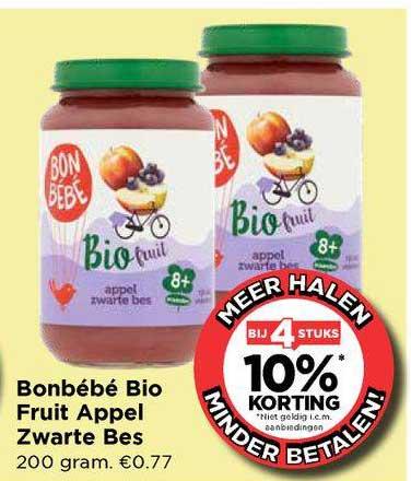 Vomar Bonbébé Bio Fruit Appel Zwarte Bes Bij 4 Stuks 10% Korting