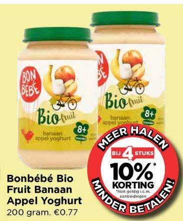 Vomar Bonbébé Bio Fruit Banaan Appel Yoghurt Bij 4 Stuks 10% Korting