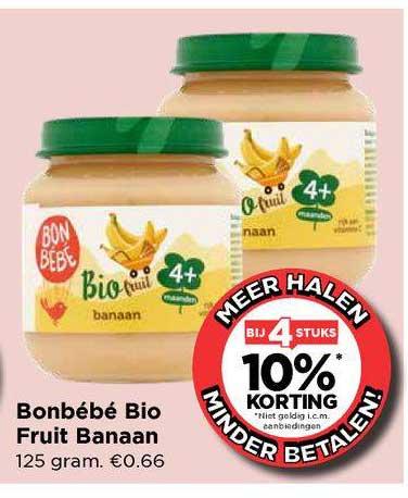 Vomar Bonbébé Bio Fruit Banaan Bij 4 Stuks 10% Korting
