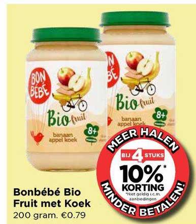 Vomar Bonbébé Bio Fruit Met Koek Bij 4 Stuks 10% Korting