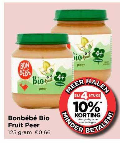 Vomar Bonbébé Bio Fruit Peer Bij 4 Stuks 10% Korting