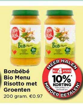 Vomar Bonbébé Bio Menu Risotto Met Groenten Bij 4 Stuks 10% Korting