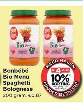 Vomar Bonbébé Bio Menu Spaghetti Bolognese Bij 4 Stuks 10% Korting