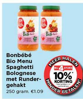 Vomar Bonbébé Bio Menu Spaghetti Bolognese Met Rundergehakt Bij 4 Stuks 10% Korting