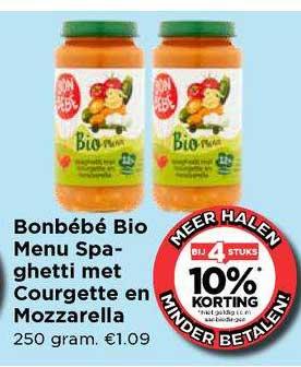 Vomar Bonbébé Bio Menu Spaghetti Met Courgette En Mozzarella Bij 4 Stuks 10% Korting