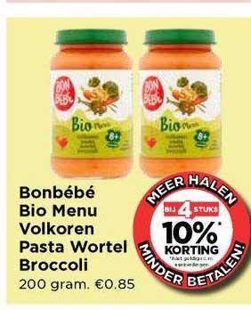 Vomar Bonbébé Bio Menu Volkoren Pasta Wortel Broccoli Bij 4 Stuks 10% Korting
