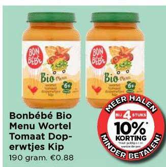 Vomar Bonbébé Bio Menu Wortel Tomaat Doperwtjes Kip Bij 4 Stuks 10% Korting
