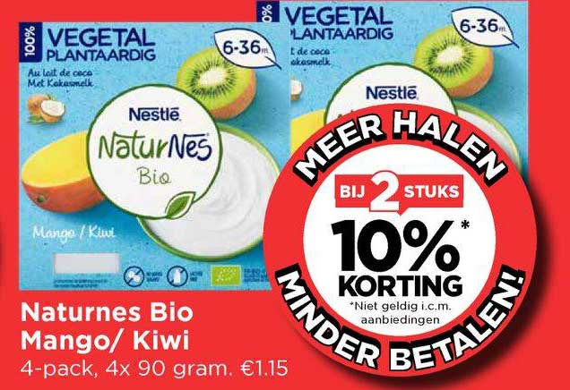 Vomar Naturnes Bio Mango- Kiwi Bij 2 Stuks 10% Korting