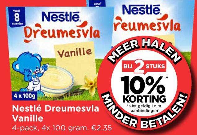 Vomar Nestlé Dreumesvla Vanille Bij 2 Stuks 10% Korting
