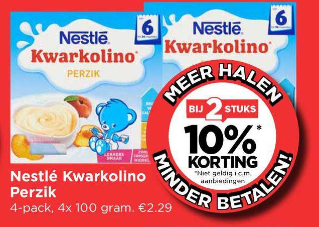 Vomar Nestlé Kwarkolino Perzik Bij 2 Stuks 10% Korting
