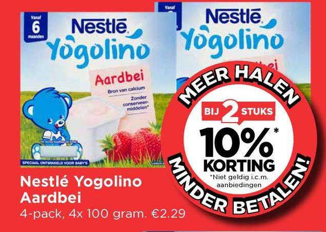 Vomar Nestlé Yogolino Aardbei Bij 2 Stuks 10% Korting