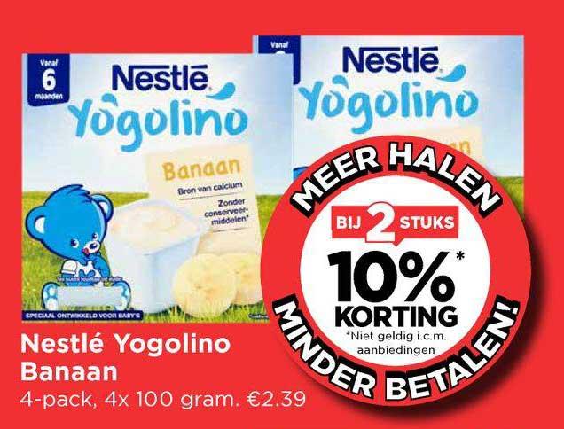 Vomar Nestlé Yogolino Banaan Bij 2 Stuks 10% Korting