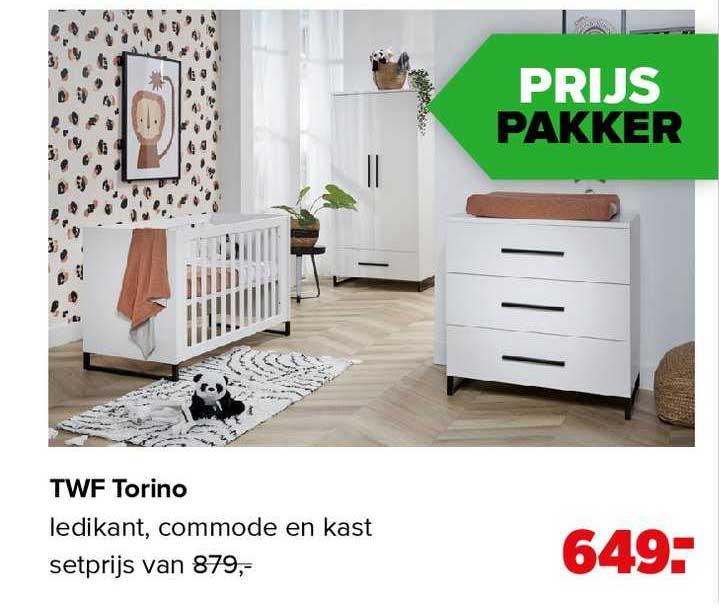 Baby-Dump TWF Torino Babykamer Ledikant, Commode En Kast