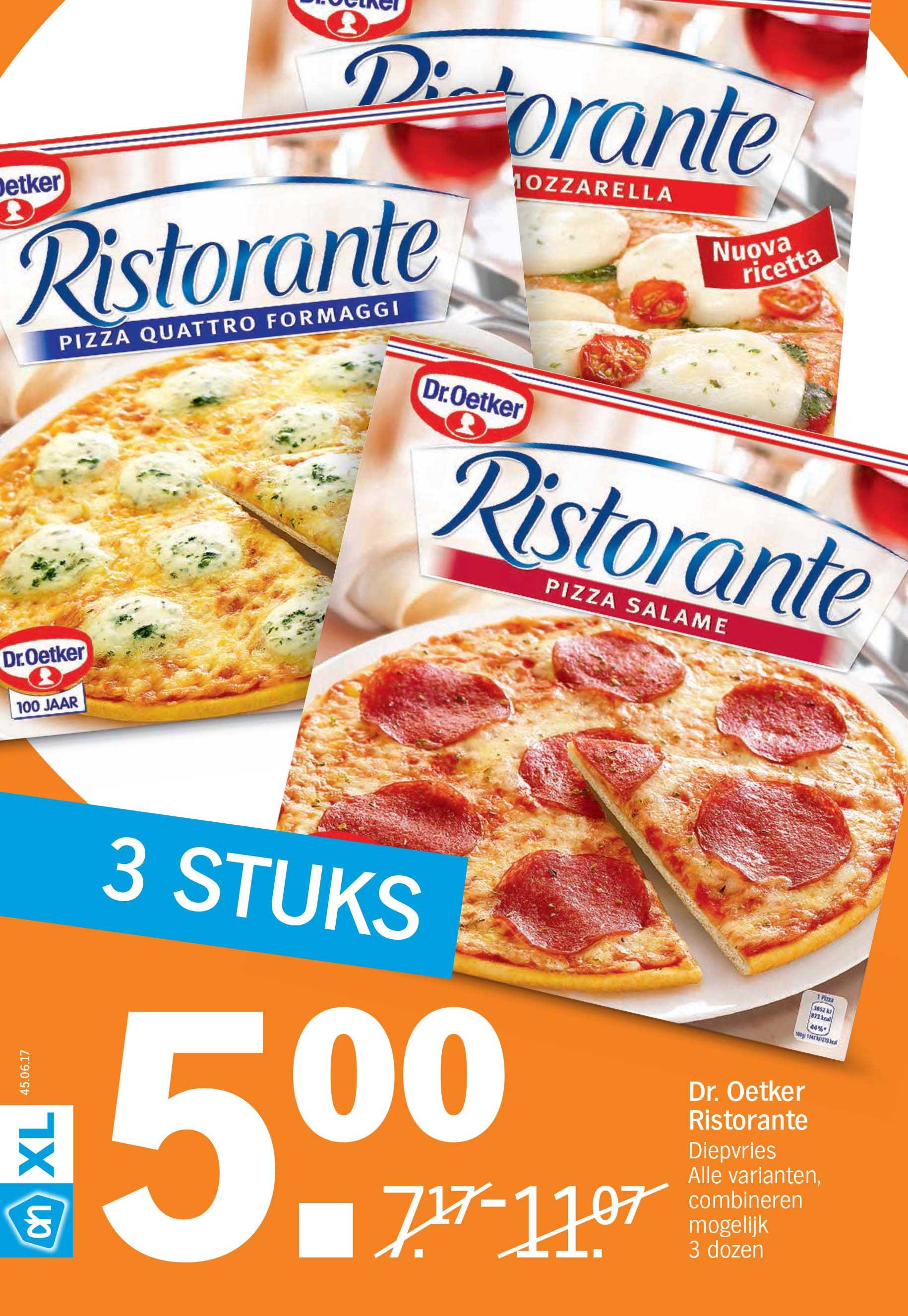 Albert Heijn Dr. Oetker Ristorante Diepvriespizza: 3 Stuks €5,-