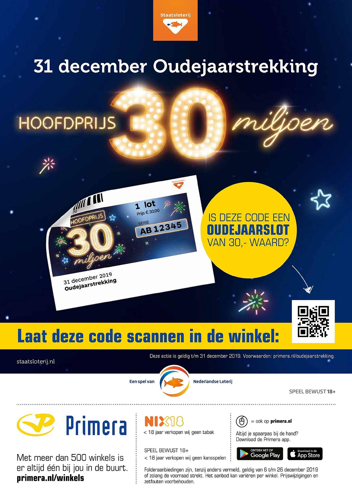 Primera 31 December Oudejaarstrekking