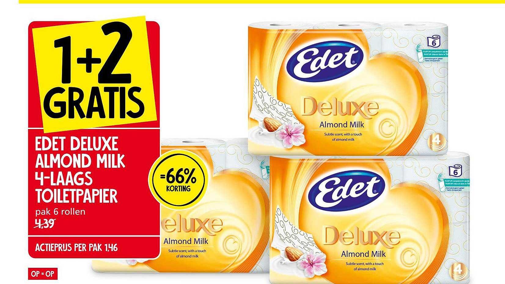 Jan Linders Edet Deluxe Almond Milk 4-Laags Toiletpapier 1+2 Gratis 66% Korting