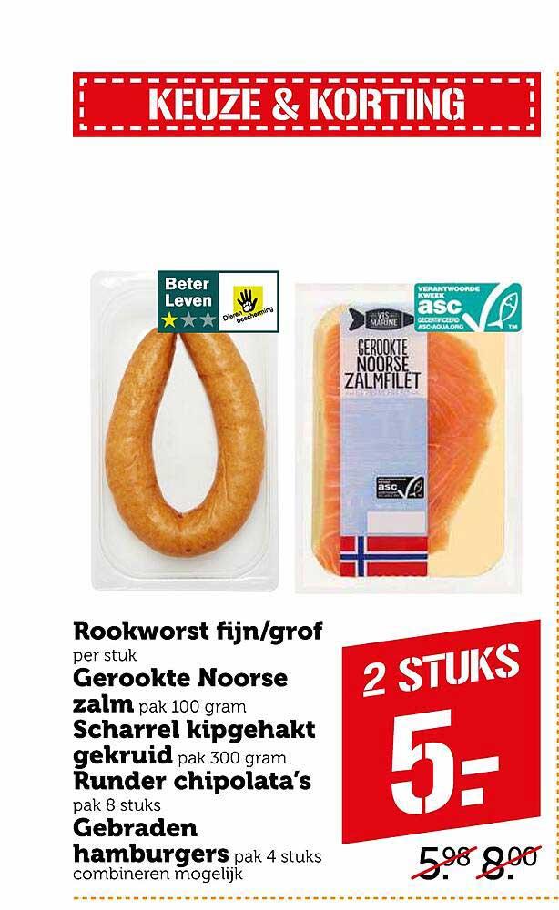 Coop Rookworst Fijn-Grof, Gerookte Noorse Zalm, Scharrel Kipgehakt Gekruid, Runder Chipolata's Of Gebraden Hamburgers