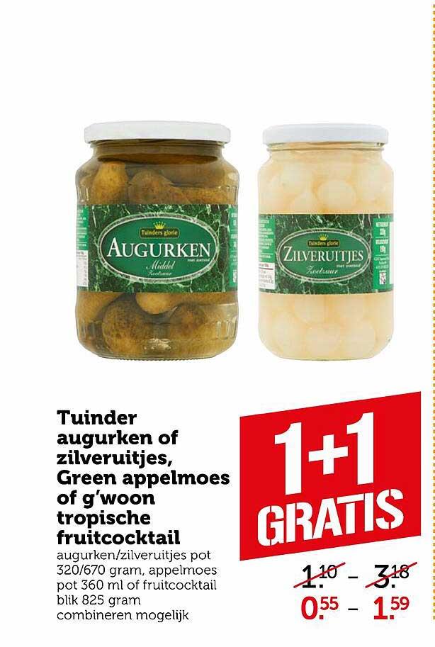 Coop Tuinder Augurken Of Zilveruitjes, Green Appelmoes Of G'woon Tropische Fruitcocktail 1+1 Gratis