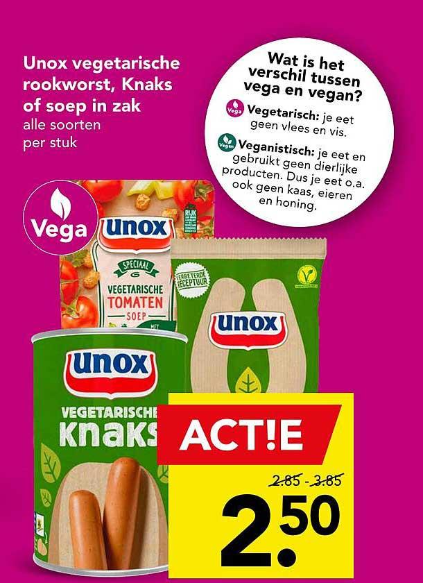DEEN Unox Vegetarische Rookworst, Knaks Of Soep In Zak