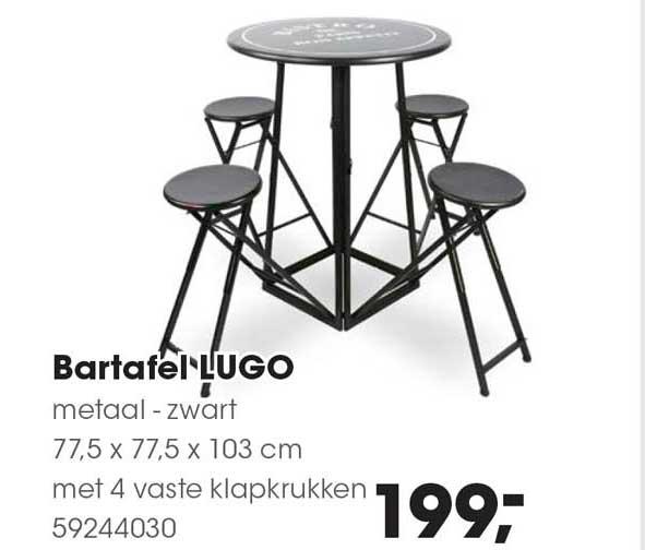 HANOS Bartafe Lugo Metaal - Zwart 77.5 X 77.5 X 103 Cm