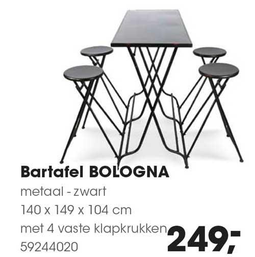 HANOS Bartafel Bologna Metaal - Zwart 140 X 149 X 104 Cm