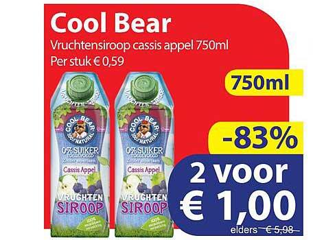 Die Grenze Cool Bear Vruchtensiroop Cassis Appel 750ml