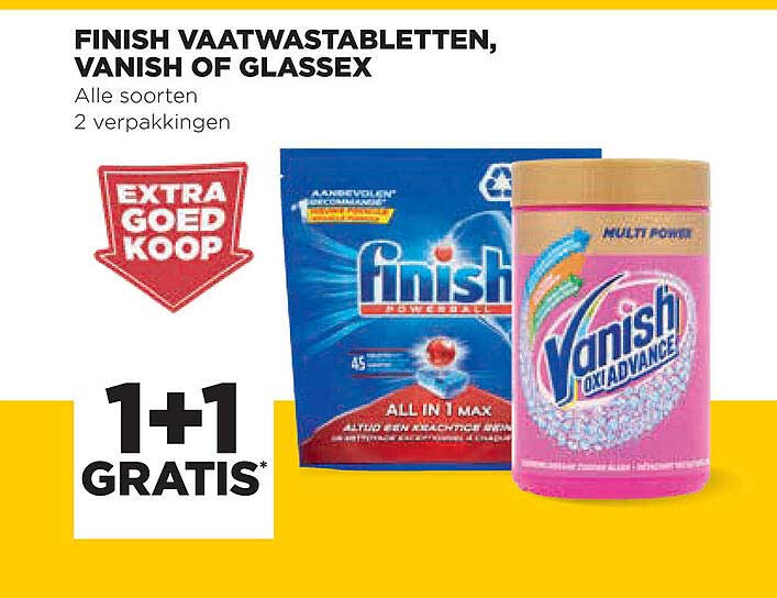 Jumbo Finish Vaatwastabletten, Vanish Of Glassex 1+1 Gratis