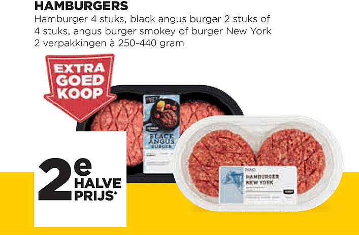 Jumbo Hamburgers : Hamburger 4 Stuks, Black Angus Burger 2 Stuks Of 4 Stuks, Angus Burger Smokey Of Burger New York 2 Verpakkingen
