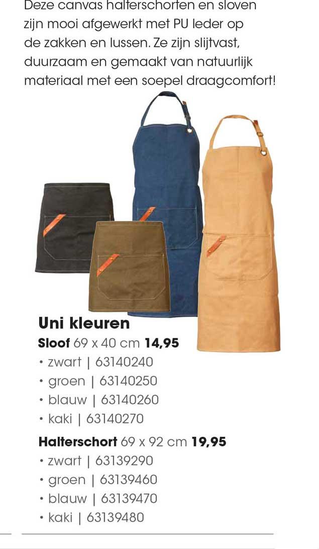 HANOS Uni Kleuren Sloof 69 X 40 Cm Of Halterschort 69 X 92 Cm