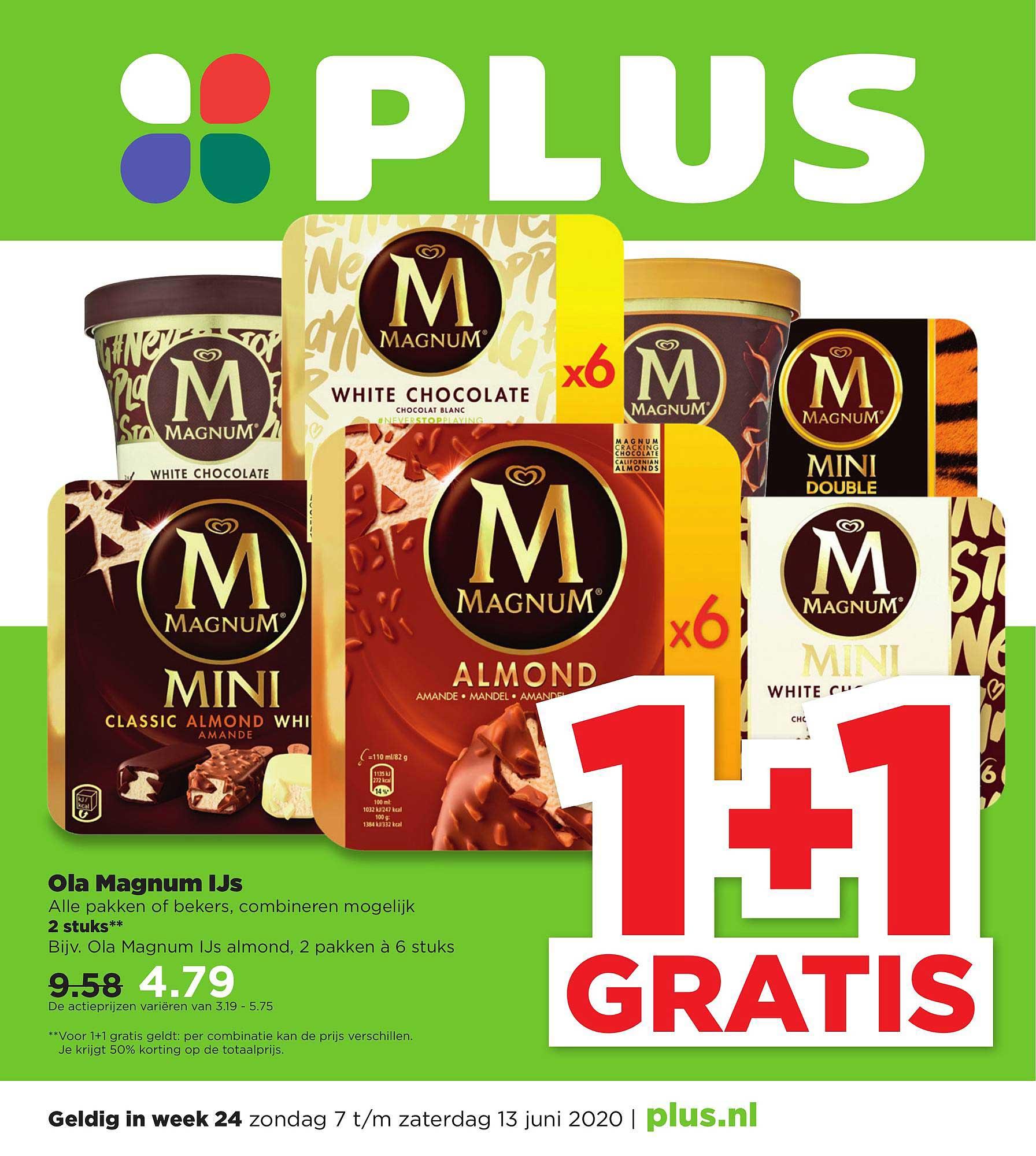 PLUS Ola Magnum Ijs 1+1 Gratis