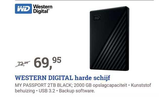 BCC Western Digital Harde Schijf My Passport 2TB Black