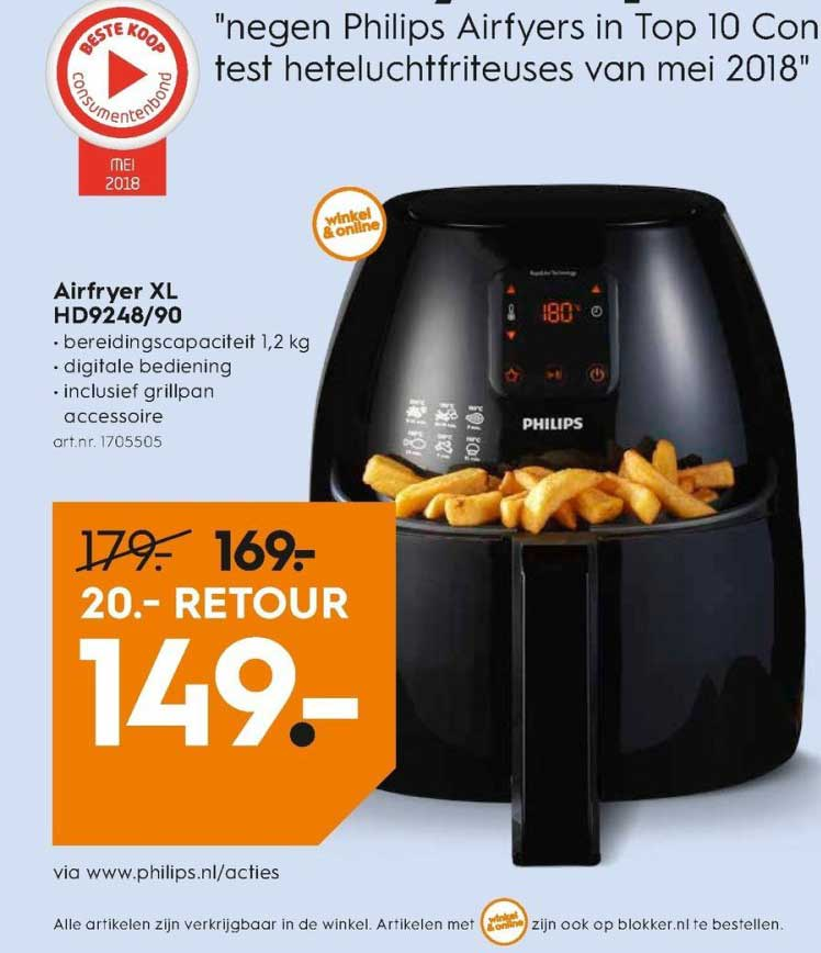 Blokker Philips Airfryer Xl HD9248-90: €20,- Retour