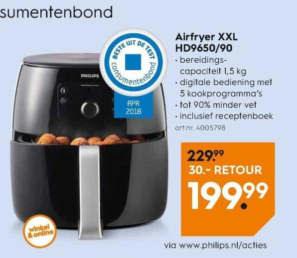 Blokker Philips Airfryer XXL HD9650-90: €30,- Retour