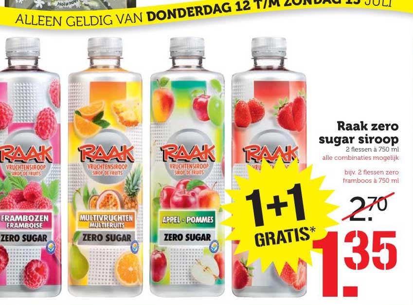 Coop Raak Zero Sugar Siroop: 1+1 Gratis