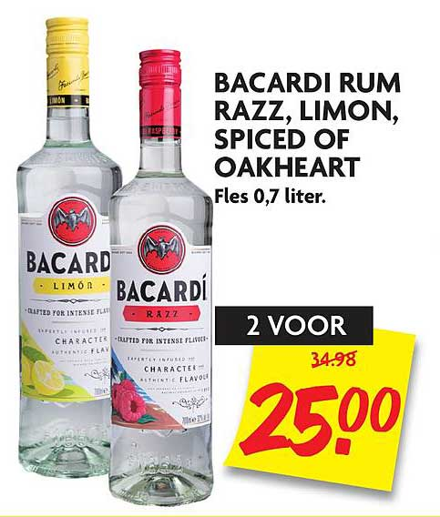 DekaMarkt Bacardi Rum Razz, Limon, Spiced Of Oakheart