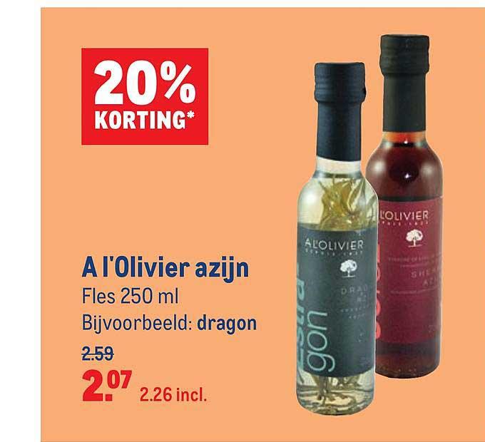 Makro A L'Olivier Azijn 20% Korting